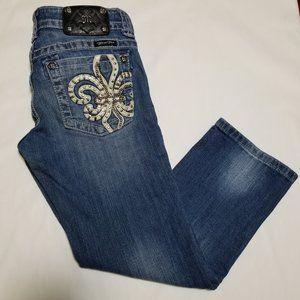 Miss Me Low Rise Capri Jeans Studded Fleur de Lis